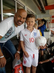 Me & Louis celebrating his birthday on the stands at AFC Bournemouth